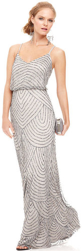 Adrianna Papell Dress, Spaghetti-Strap Beaded Blouson Gown