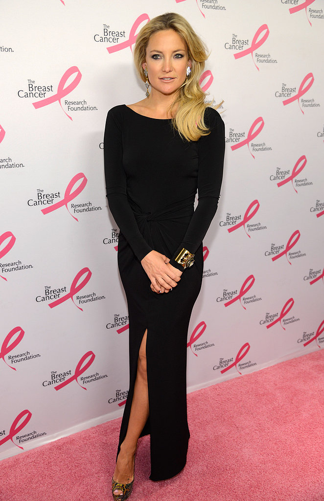 Kate Hudson turned heads in this body-conscious Ann Taylor gown at the Breast Cancer Foundation's annual Hot Pink Party. Full disclosure: the glamour didn't stop here; Kate delivered another jaw-dropping arrival at last night's Tiffany Blue Book Ball.