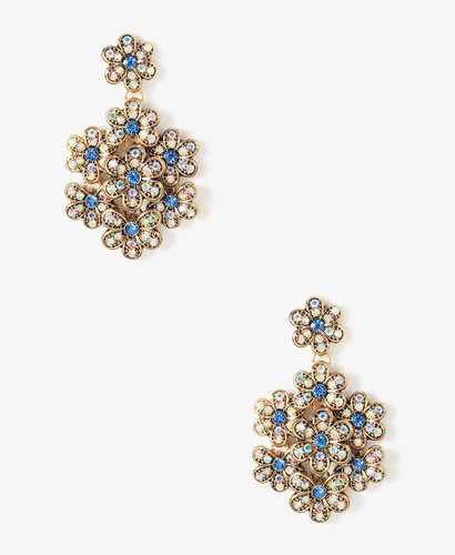 FOREVER 21 Iridescent Layered Flower Earrings