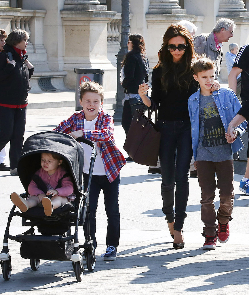 Victoria Beckham took her family to the Louvre Museum ahead of David Beckham's big game in Paris.