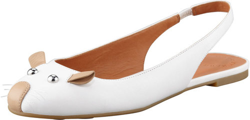 MARC by Marc Jacobs Mouse Slingback Ballerina Flat, White/Nude