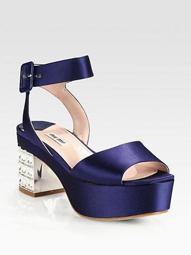 Miu Miu Satin Jeweled Heel Platform Sandals