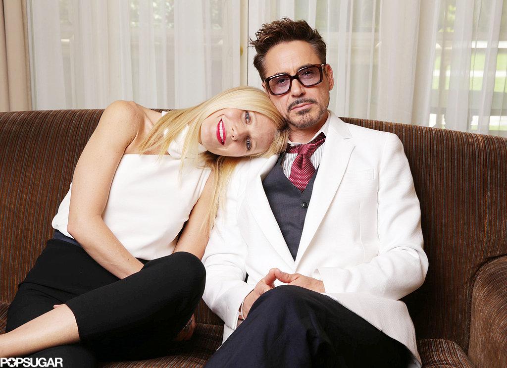 Gwyneth Paltrow placed her head on Robert Downey Jr.'s shoulder.