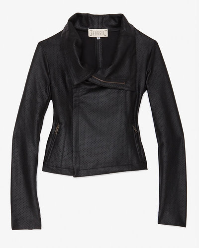 Georgie Exclusive Perforated Faux Leather Moto Jacket