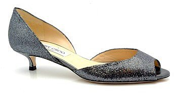 "Jimmy Choo ""Lyon"" Pewter Glitter Kitten Heel Pumps"