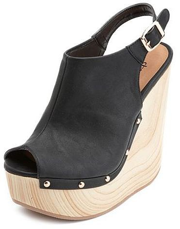 Slingback Peep-Toe Wooden Wedge