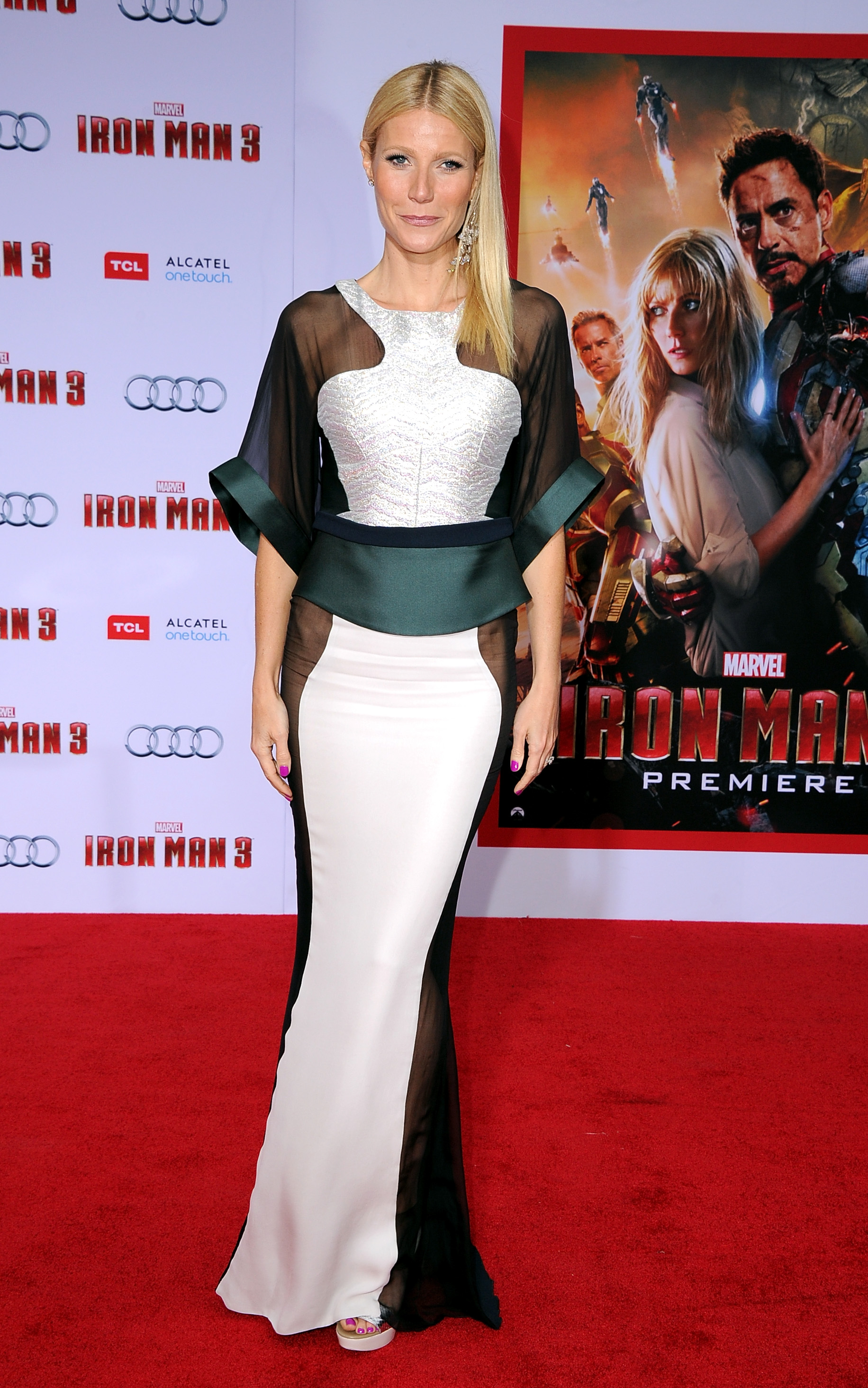 Gwyneth Paltrow walked the red carpet at the LA premiere of Iron Man 3.