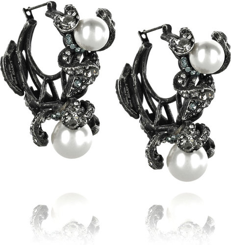 Lanvin Fleur Strassee crystal hoop earrings