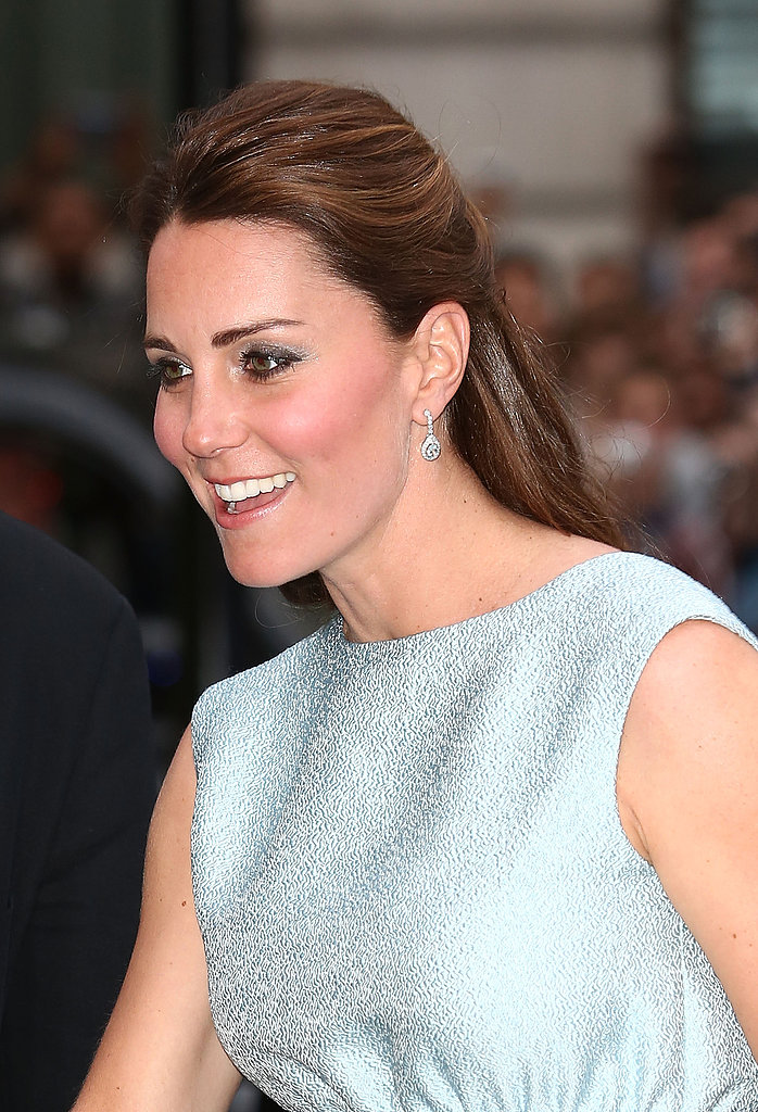 The softly pulled back style puts the focus on Kate's flawless complexion.