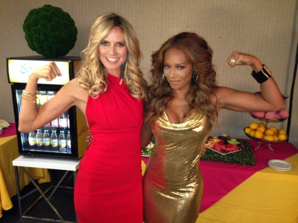 Heidi Klum and Melanie Brown flexed their muscles for the camera on the set of America's Got Talent. Source: Twitter user heidiklum