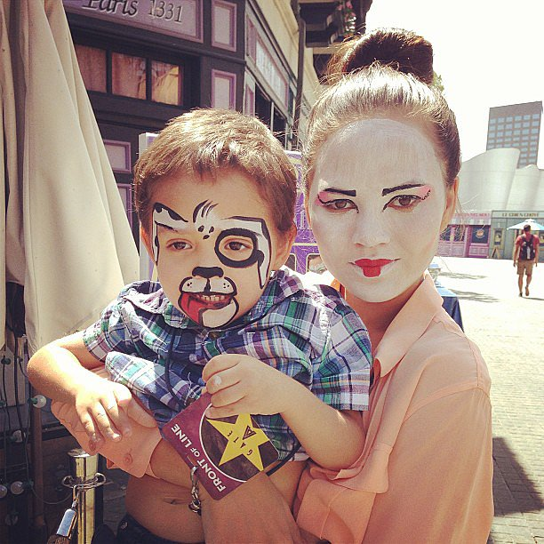 Chrissy Teigen and her pint-size pal got their faces painted during a day at Universal Studios.  Source: Instagram user chrissy_teigen