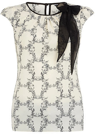 Cream bird print bow neck top