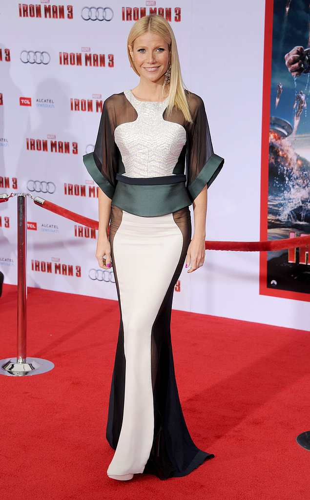 Gwyneth Paltrow turned heads at the LA premiere of Iron Man 3 in a sheer-infused Antonio Berardi Fall '13 gown. The dress featured a teal, navy, black, and white colorway, but the real takeaway was two part. The iridescent silver paneling and revealing peeks of skin stole the show.