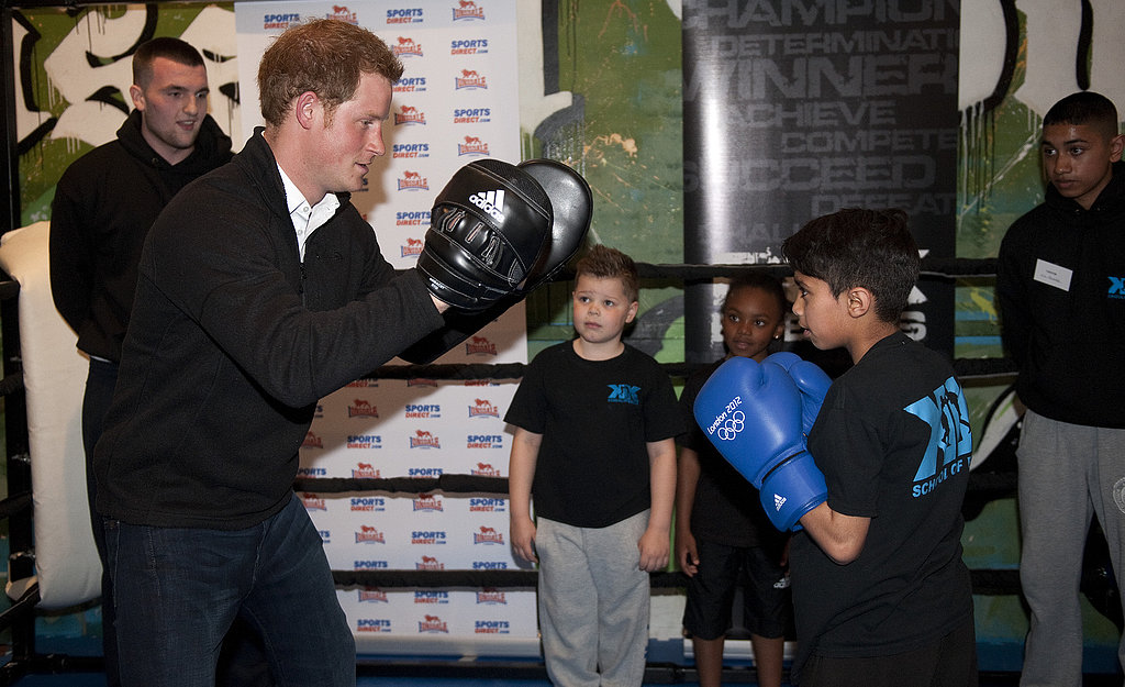 Prince Harry had his fists up during a visit to the KK Boxing Club in Nottingham, England, on Thursday.