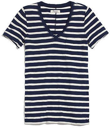 V-neck pocket tee in stripe