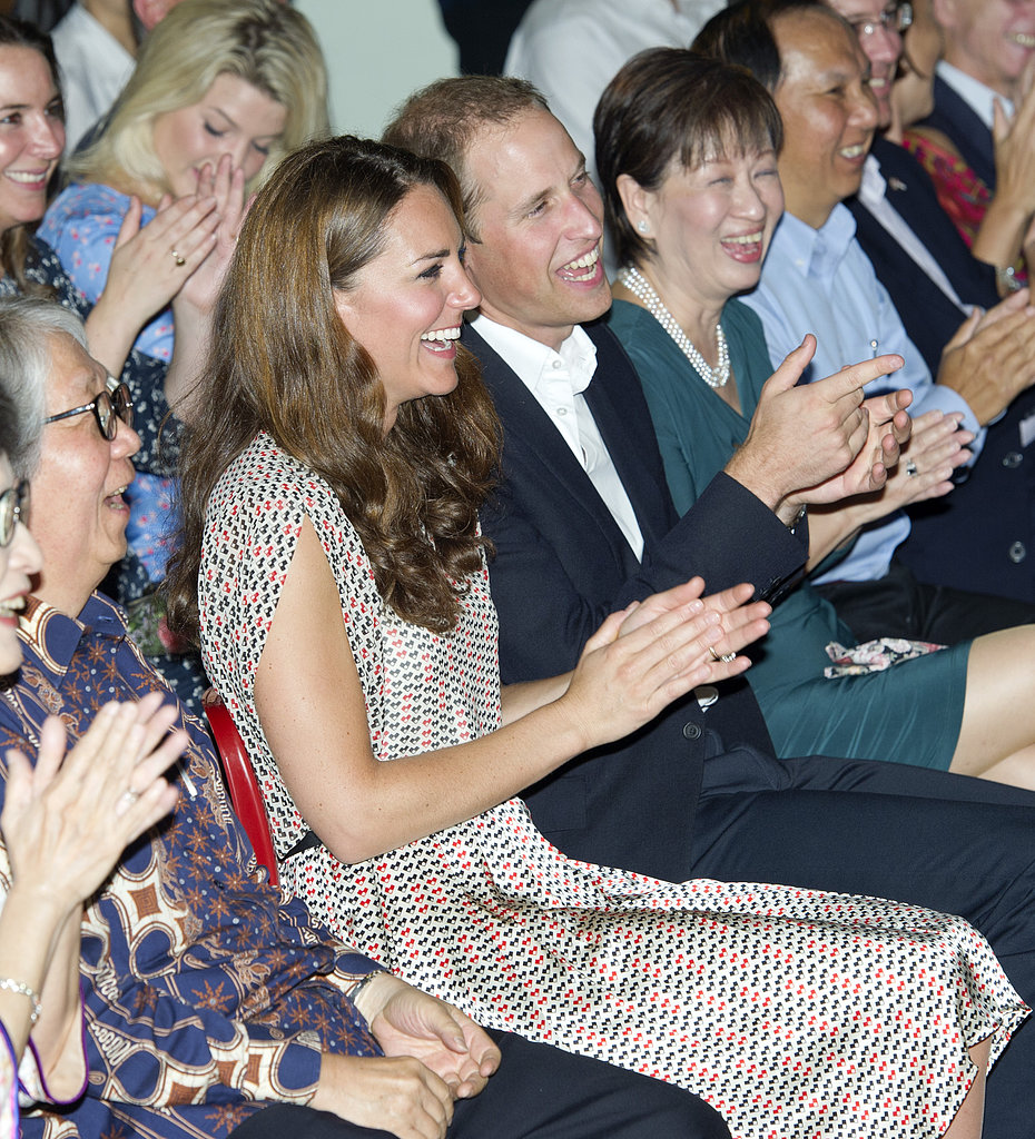 Kate Middleton and Prince William laughed in the crowd while visiting The Rainbow Center in Singapore in September 2011.
