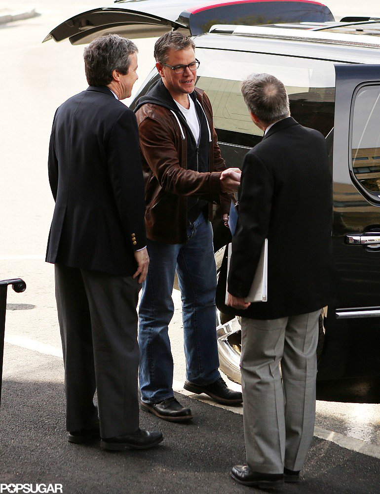 Matt Damon arrived in Cambridge, MA, for a special ceremony at Harvard University.