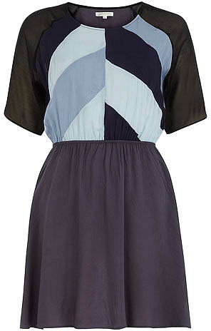 Denim blue patchwork dress