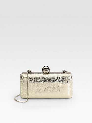 Milly Iris Metallic Pebbled Leather Minaudiere Clutch