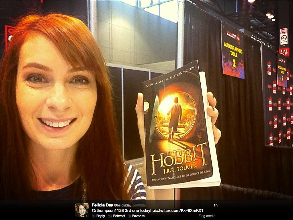 Geek & Sundry's Felicia Day was handed Hobbit gifts all day at the Chicago Comic & Entertainment Expo on behalf of Charlie (Felicia's character on Supernatural, who was read the Tolkien classic as a child and became interested in fantasy realms because of it).