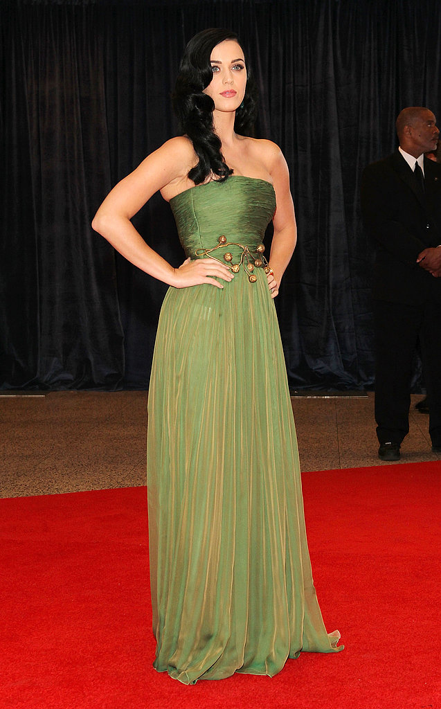 Katy Perry looked perfectly elegant in a Giambattista Valli silk draped gown and Adeler jewels.