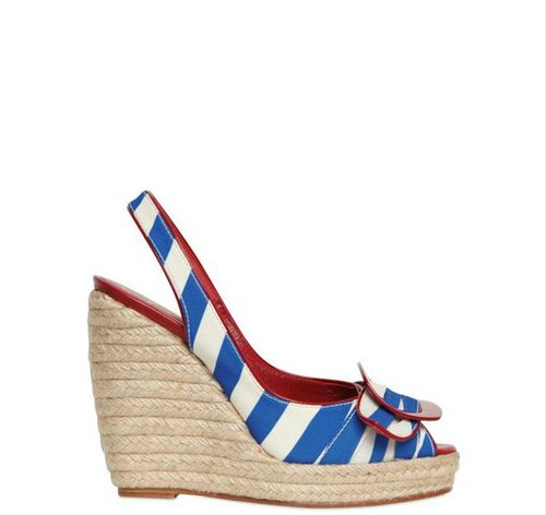 ROGER VIVIER BLUE 120MM CORDELLA CANVAS SLING BACK WEDGES