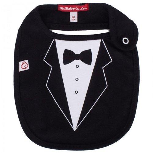 Oh Baby London Black Tuxedo Print Bib