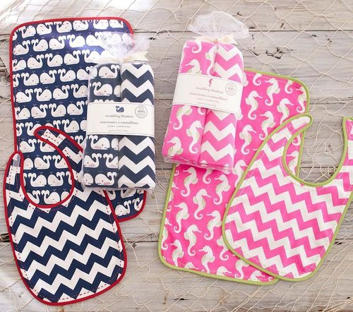 Seahorse Whale Bib and Burp Set