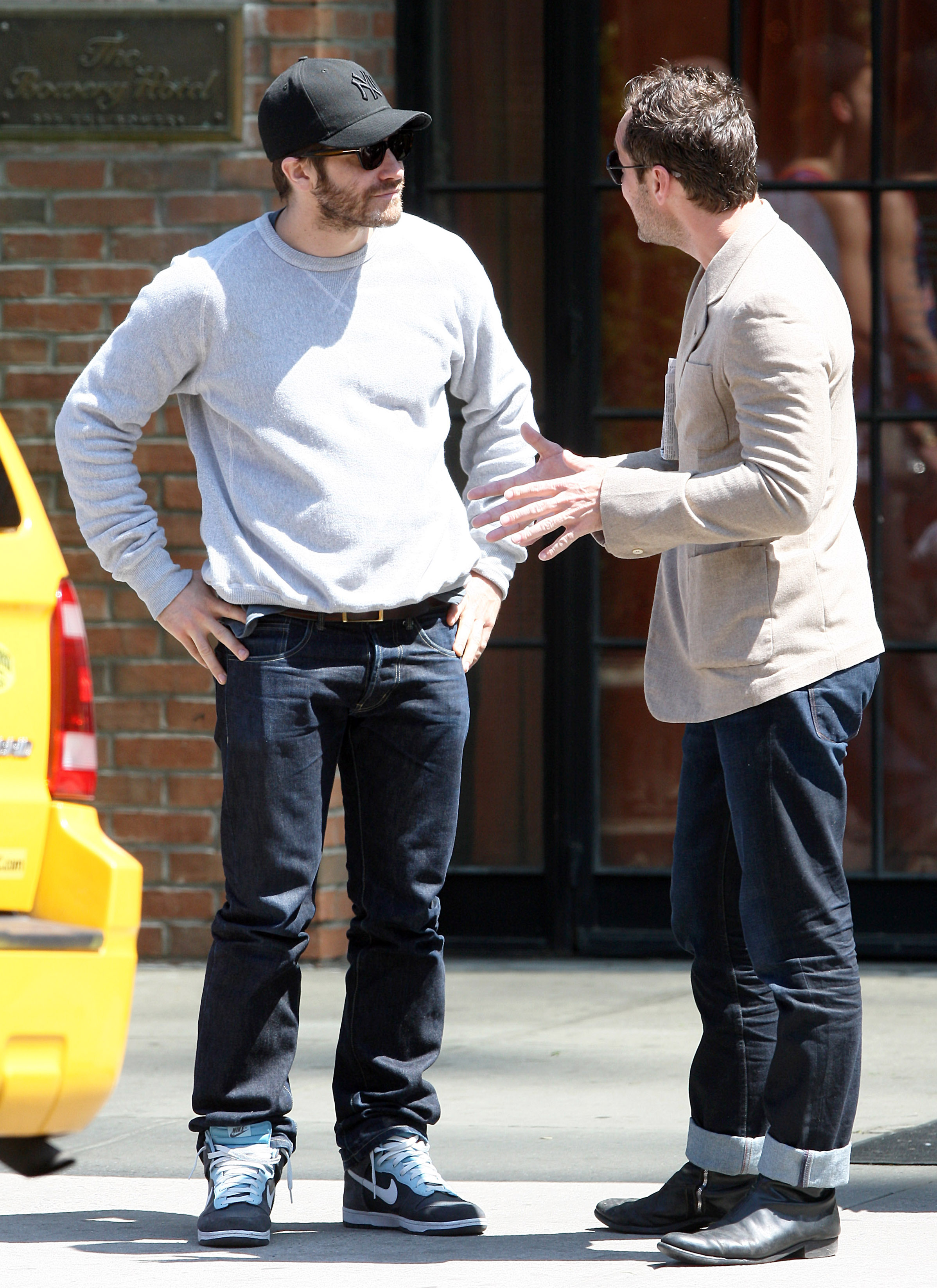 Jake Gyllenhaal and Jude Law chatted in NYC.