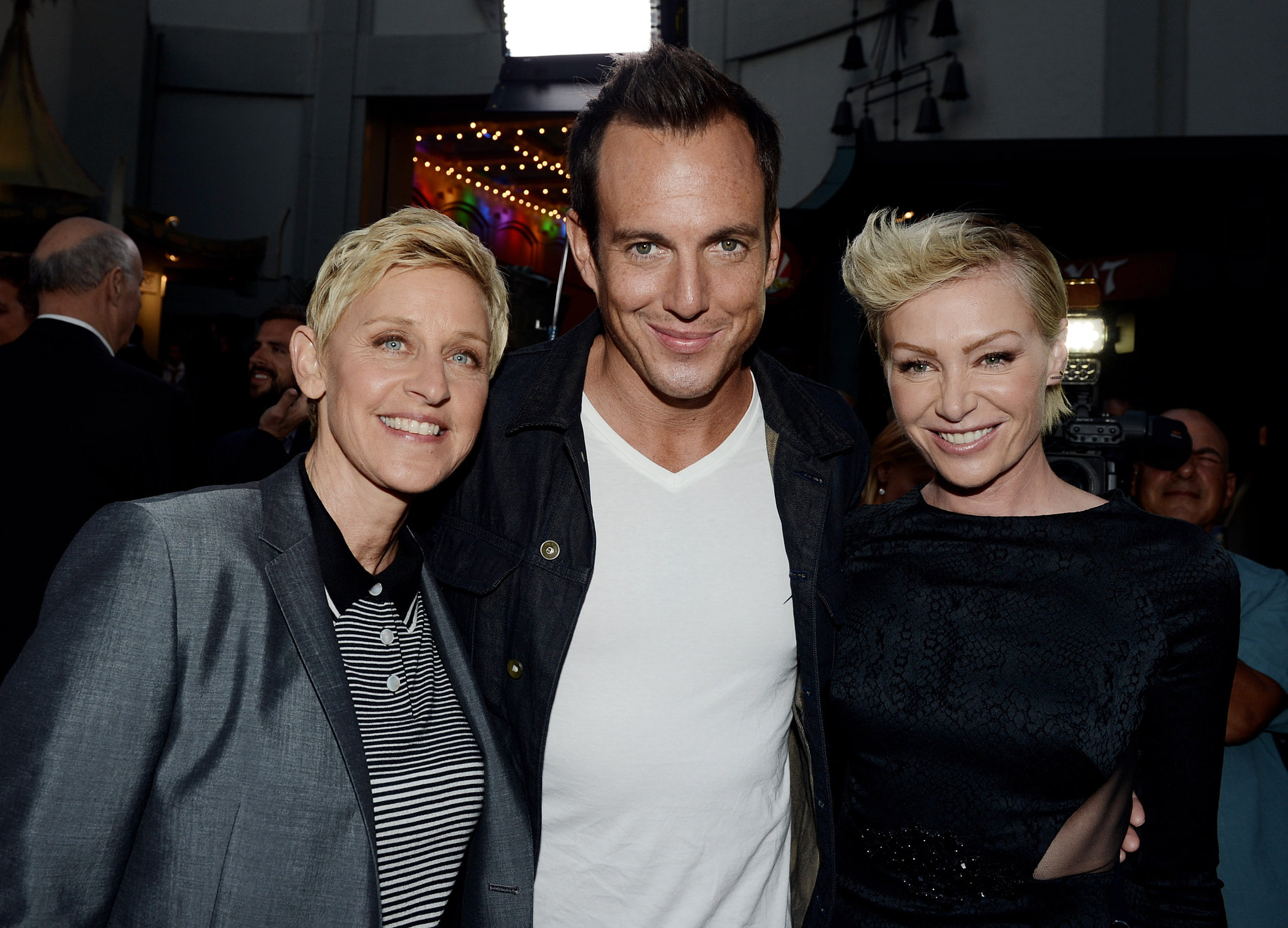 Will Arnett hugged Ellen DeGeneres and Portia de Rossi at the premiere.