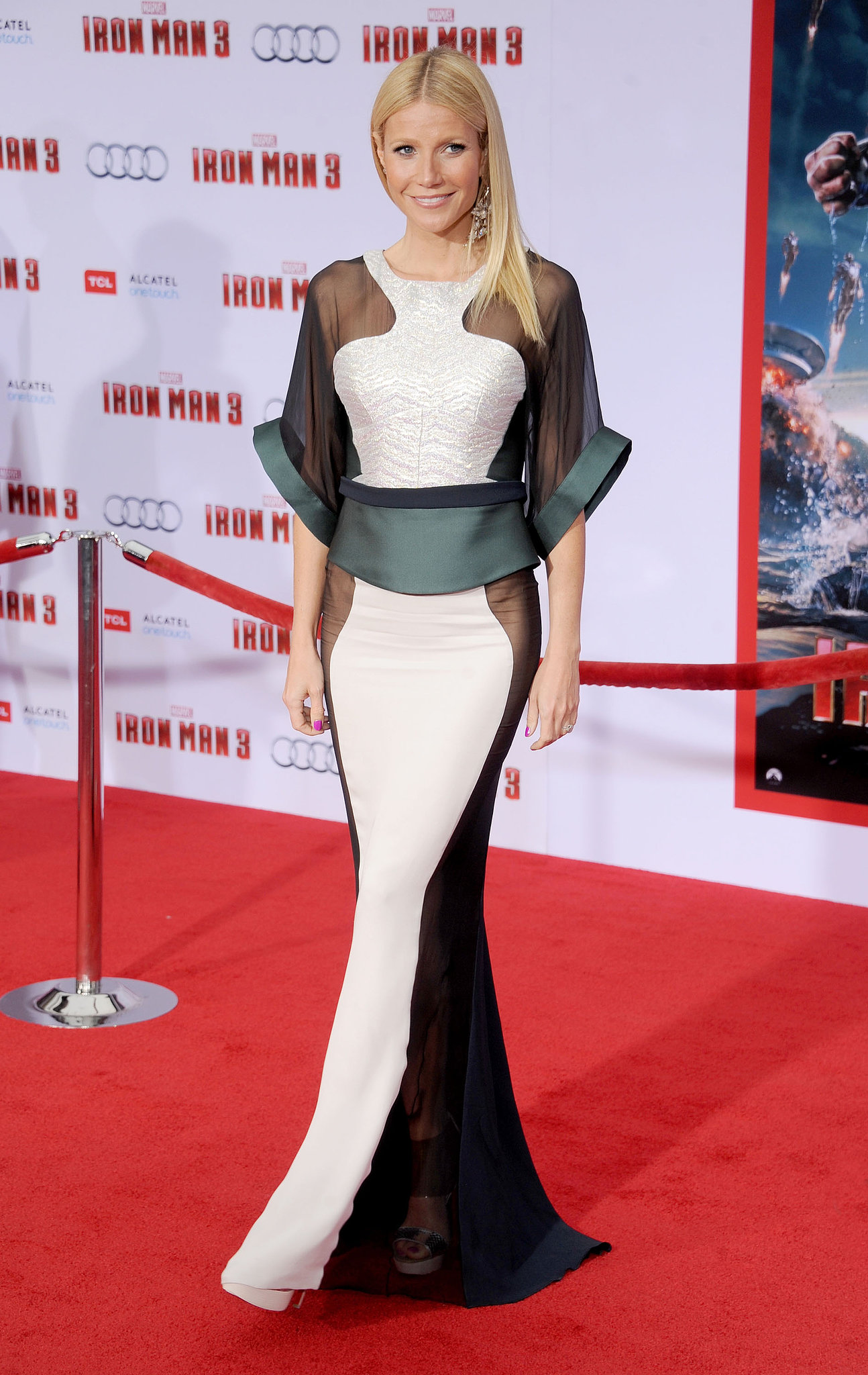 Gwyneth Paltrow wore Fall 2013 Antonio Berardi at the Iron Man 3 premiere in Los Angeles.