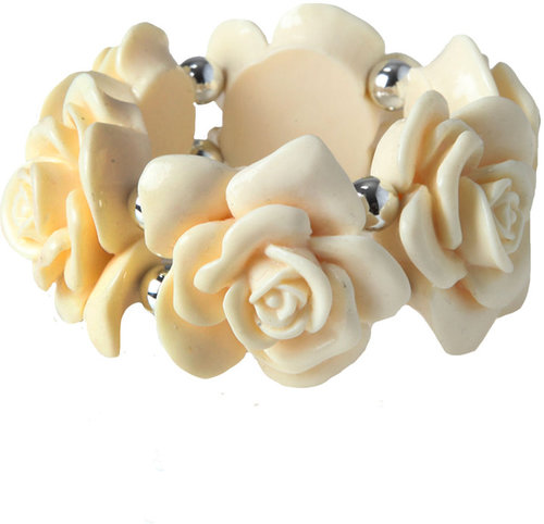 Yours Clothing Cream flower stretch bracelet
