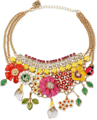 Betsey Johnson Necklace, Flower & Rhinestone Frontal Necklace