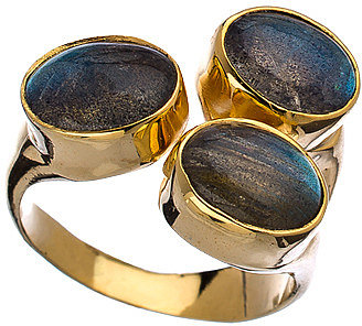 Mali Sabatasso Gold and Triple Labradorite Ring