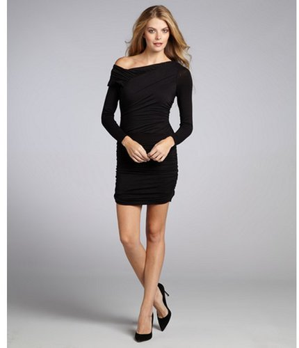 Wyatt black ruched jersey asymmetrical neck dress
