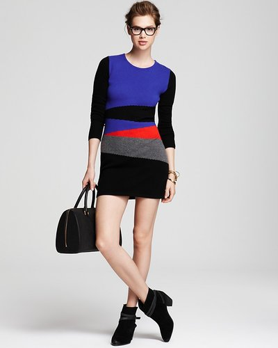 Aqua Cashmere Color Block Dress