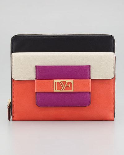 Diane von Furstenberg Metro Leather iPad Case, Sand/Gardenia/Coral