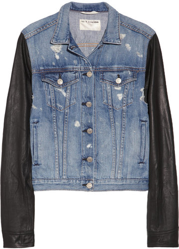 Rag & bone JEAN Leather-sleeved distressed denim jacket