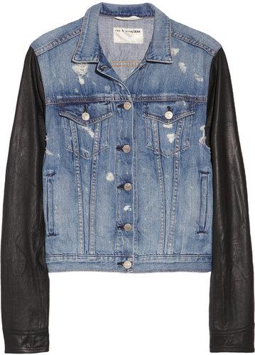 Rag & bone JEAN Leather-sleeved distressed denim jacket