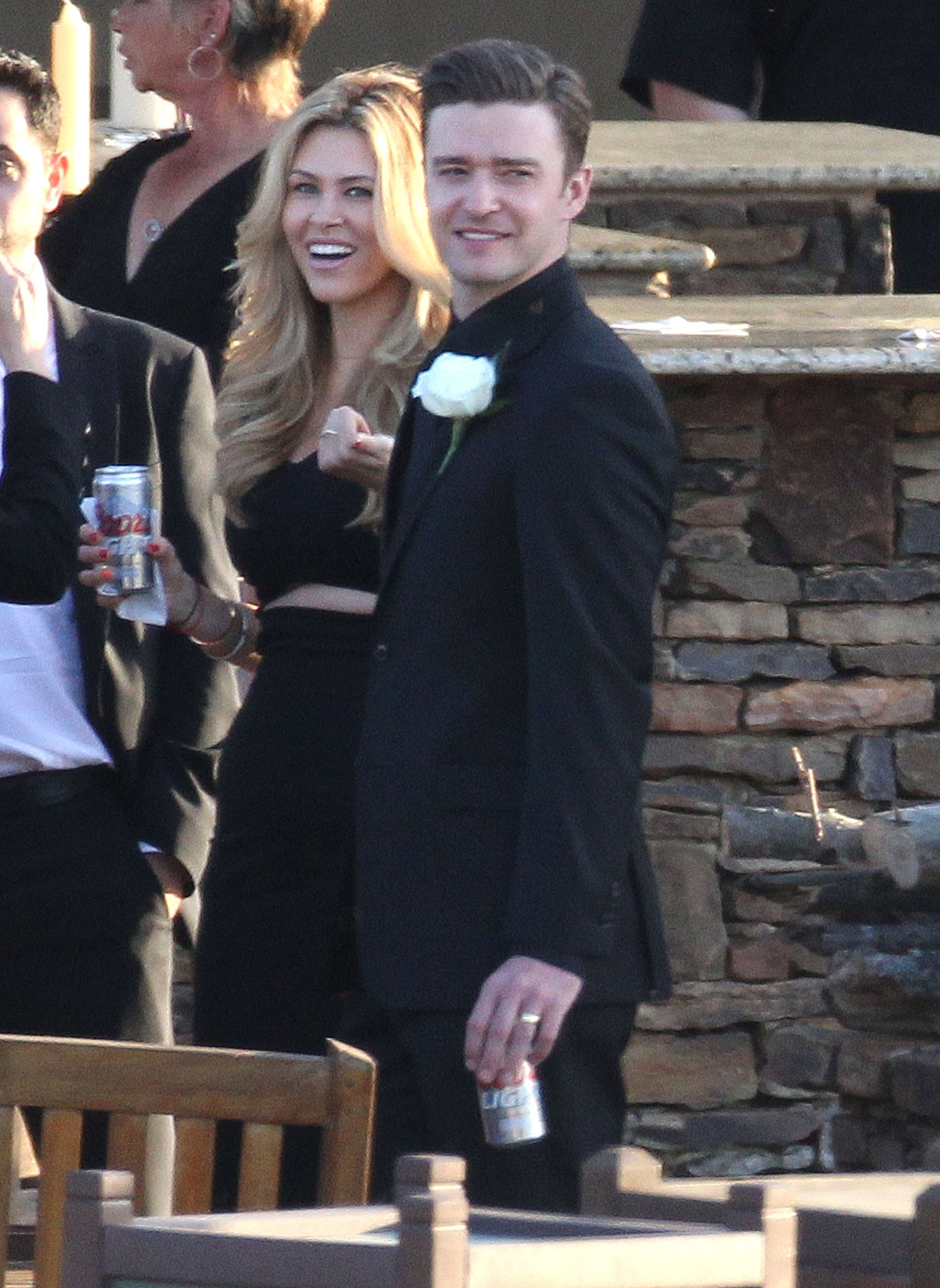 Justin Timberlake enjoyed a cold beer while at a childhood pal's wedding in Memphis in April 2013.