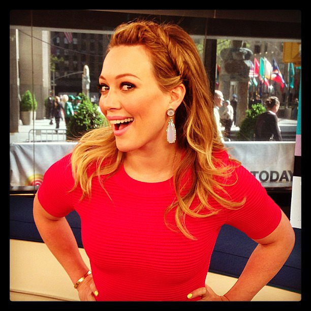 Hilary Duff wore red for an appearance on the Today show. Source: Instagram user todayshow