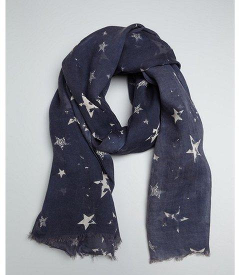 Wyatt navy scattered star printed fringed scarf