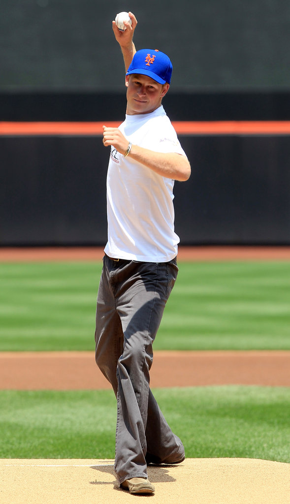Prince Harry took the mound at the Minnesota Twins vs. the New York Mets game in June 2010.