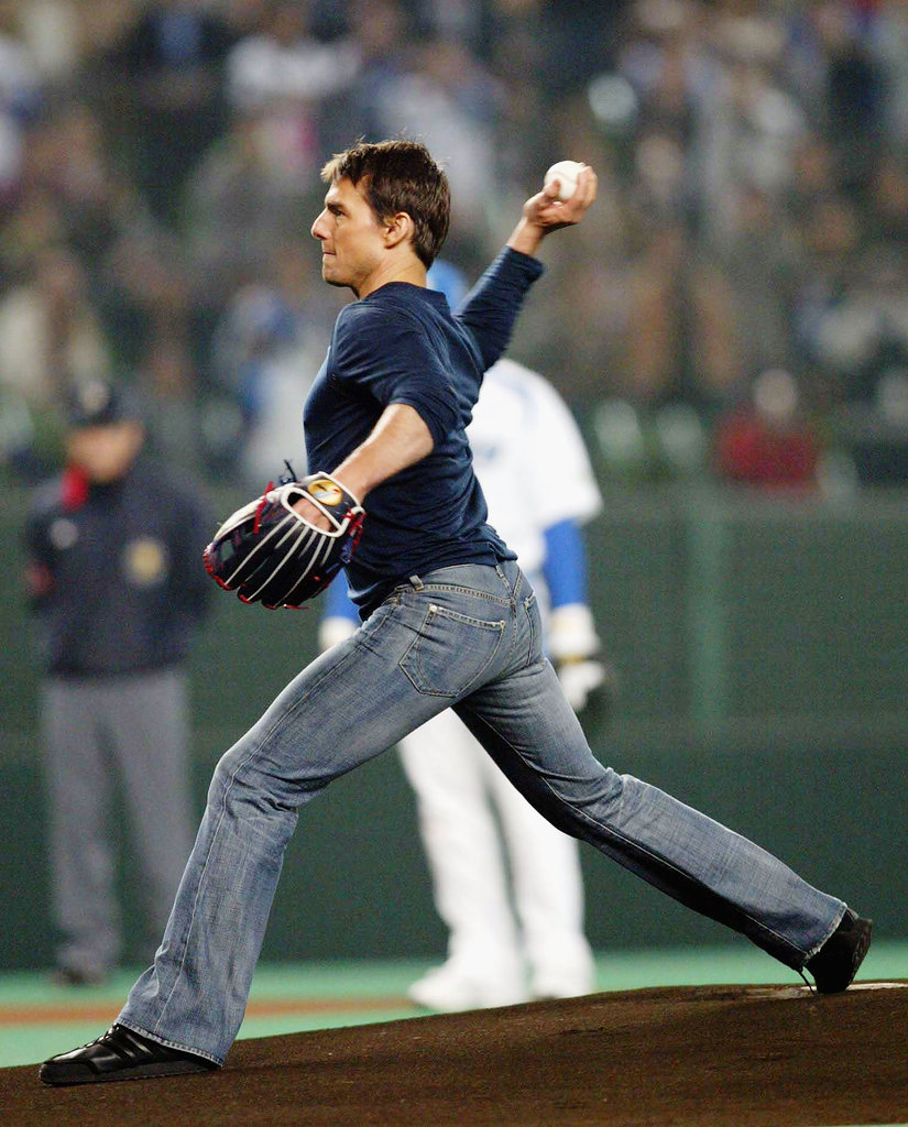 Tom Cruise gave the first pitch a whirl for a baseball game in Japan back in October 2004.