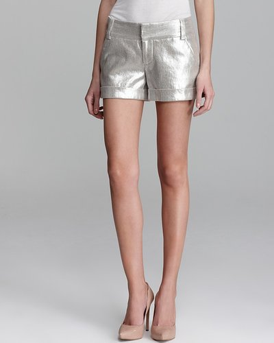Alice + Olivia Shorts - Cady Cuff Metallic