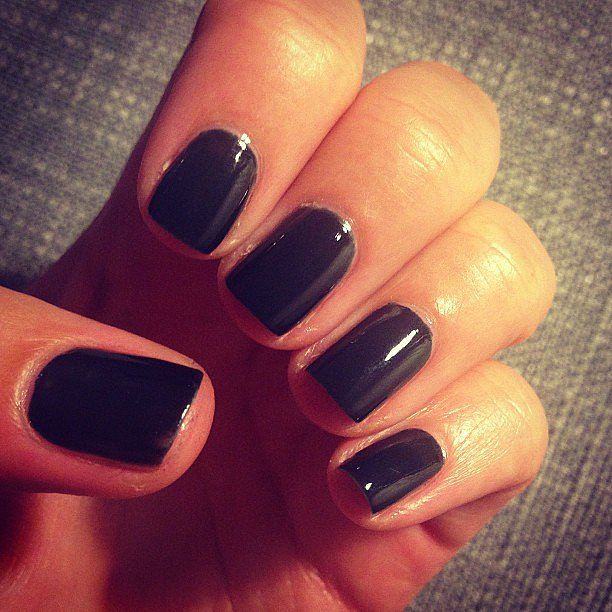 Alison went for a moody midnight hue this week! This is Revlon Glossfinity in Blackout.