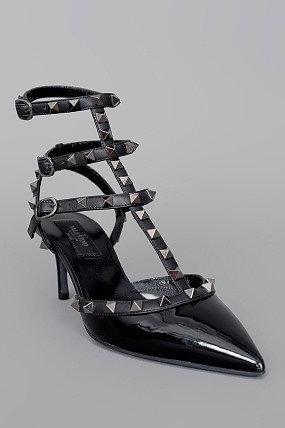 Valentino Rock Star Studded Caged Slingback Heel Black