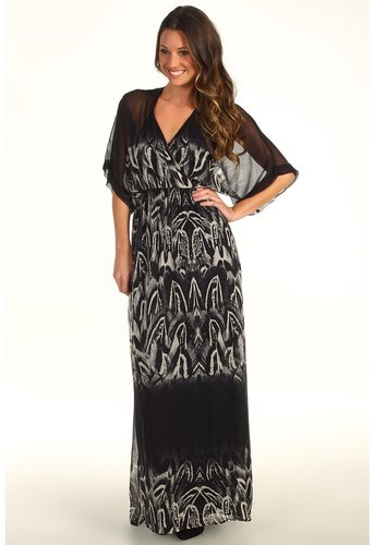Twelfth Street by Cynthia Vincent - Tie Back Kimono Sleeve Maxi (Feather Ombre Black) - Apparel