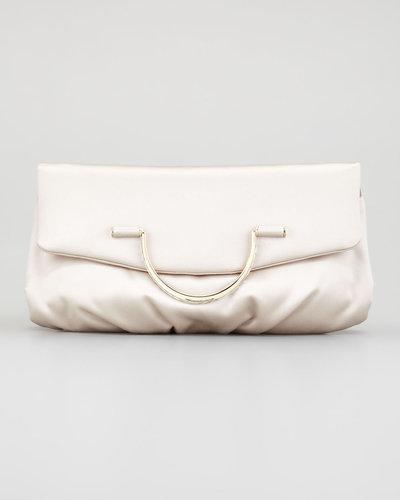 Nina Ricci Satin Bijou Pouchette Clutch Bag, Sand