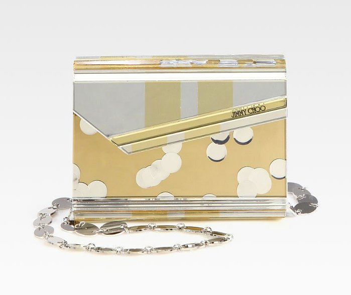 We adore the playful vibe on this Jimmy Choo metallic acrylic clutch ($1,068, originally $1,525). It's made for a whimsical bride-to-be.